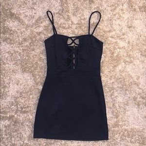 Navy blue suede Charlotte Russe fitted dress